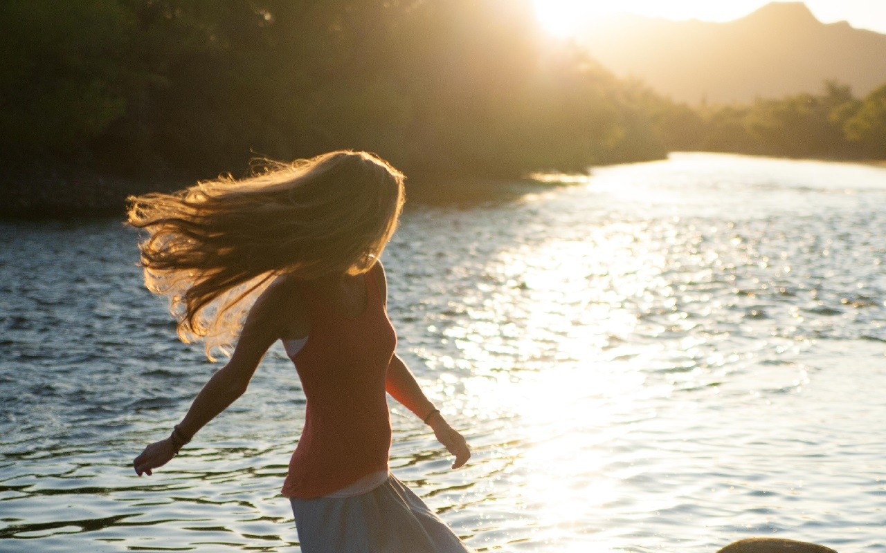 nature, woman, river, hair, sunset
