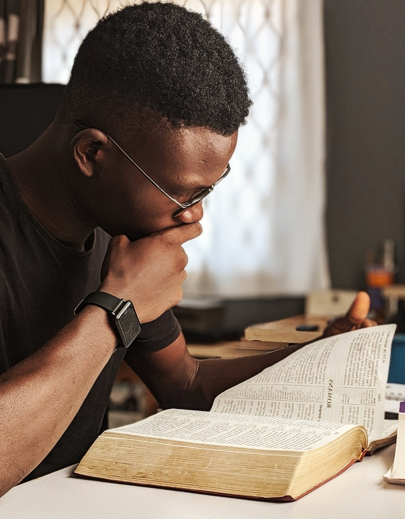 man, reading, bible, book