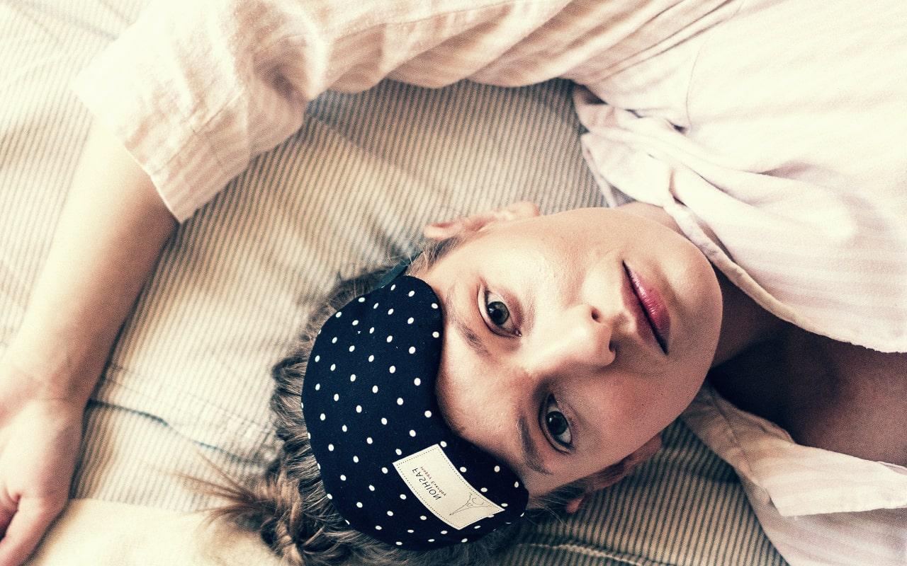 sleep mask, woman, bed, laying