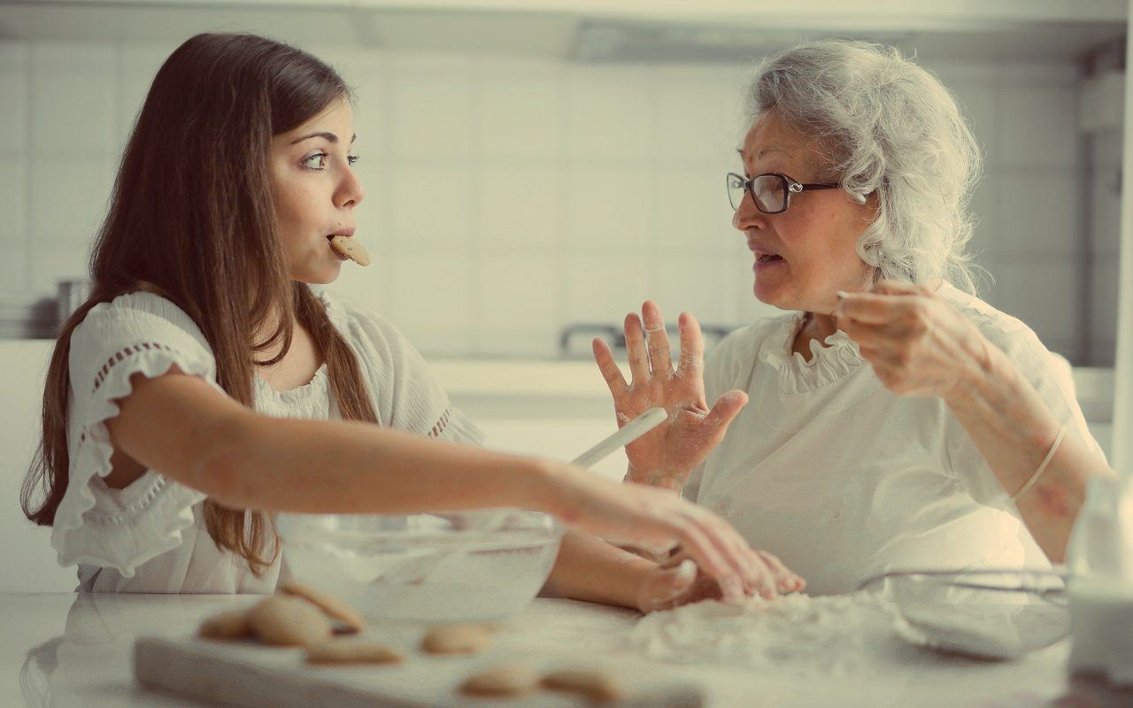 baking, flour, water, sugar, girl, grandma